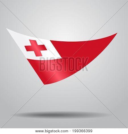 Tonga flag wavy abstract background. Vector illustration.