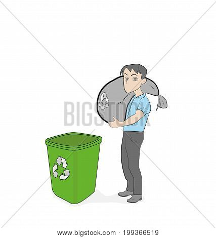 men throw garbage sorting it. Different garbage in different tanks. vector illustration.