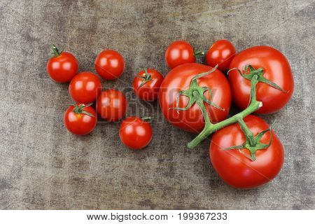 fresh tomatoes and  cherry tomatoes on the vine on a grungy metal background