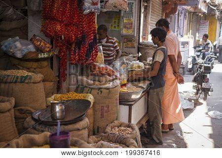 JODHPUR INDIA - JANUARY 11 2017: Undefined people at work in street in Jodhpur India.