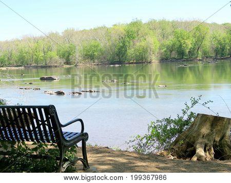 The view of Potomac River near Washington DC 20 April 2016 USA