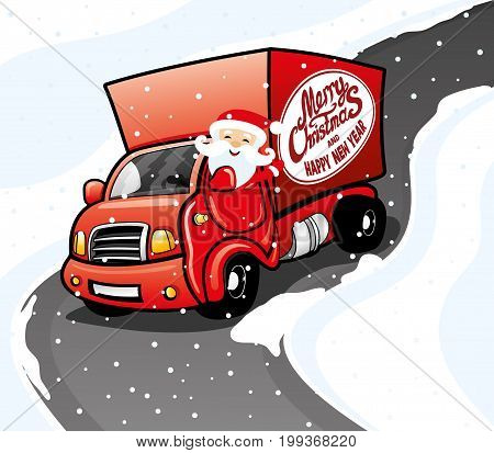 Santa claus in a red truck on the road.