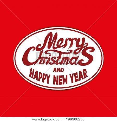 Merry Christmas and Happy New Year oval sticker.