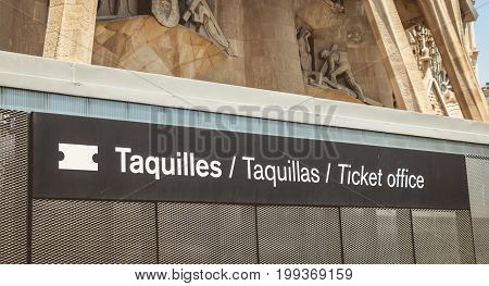 Ticket Office Sign In Front Of The Sagrada Familia