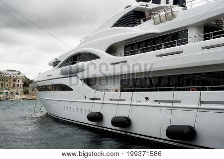 Luxury super yacht moored at Manoel Island, Malta
