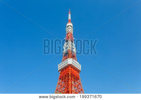 Tokyo Tower is steel tower beautiful nature blue sky background a major tourist attraction in Kanto region Tokyo Japan. Concept of travel and Popular photographer.