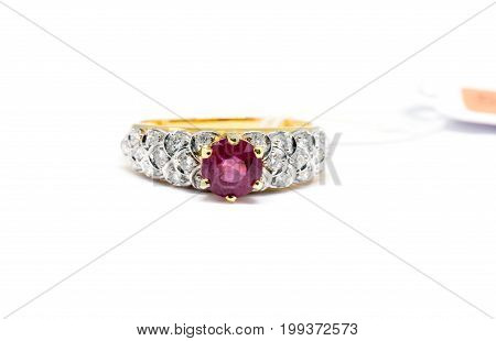 Pink Diamond With White Diamond And Gold Ring