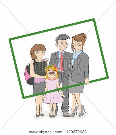 Cool vector flat design family portrait. Family members standing together holding large picture frame. Teenage girl and small girl standing together. Happy family characters