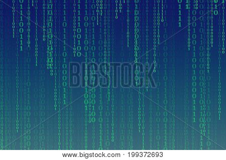 Binary code processing instagram color tone background with digits on screen Concept of digital age. Algorithm binary data code decryption and encoding row matrix illustration background.