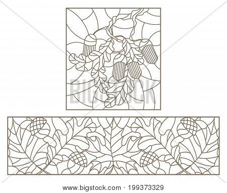 Set contour illustrations of stained glass with leaves of maple oak aspen and acorns