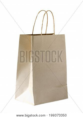 brown paper bag isolated on white background recycle concept