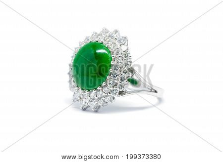 Closed Up Green Jade With Diamond And Gold Ring Isolated