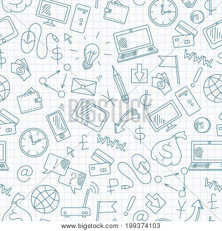 Seamless background on the topic of information technology and earn money online simple hand-drawn contour icons blue contour icons on the clean writing-book sheet in a cage