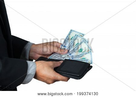 The businessman took dollar out of his wallet with white background and space for copy.