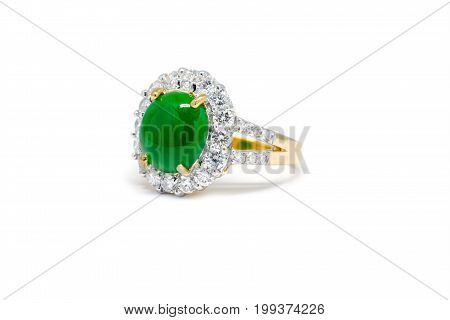 Green Jade With Diamond And Gold Ring Isolated