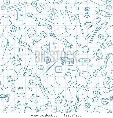 Seamless pattern on the theme of needlework and sewing blue contour icons on the clean writing-book sheet in a cage