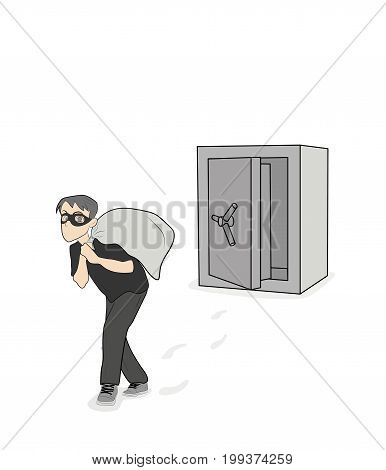 The thief carries a sack of stolen goods from the safe. vector illustration.