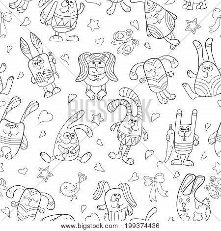 Seamless pattern with contour images of cartoon rabbits dark outline on a white background