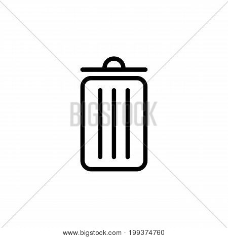 Thin Line Trash Bin Icon On White Background