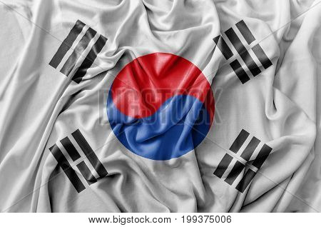 Ruffled waving South Korea flag national flag close
