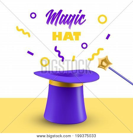 Cylinder magic hat and wand vector illustration. 3D Top hat isolated on white background