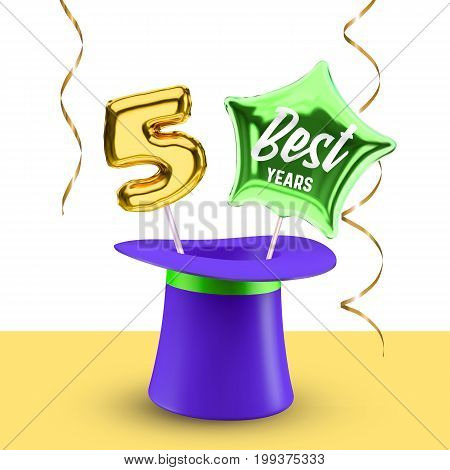 Five best Years anniversary vector banner with magic hat balloon number 5 and star for congratulations.