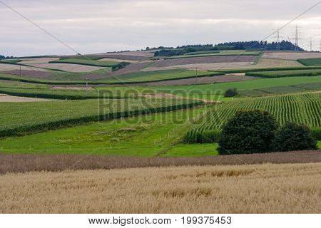 A view of the fields around of the small town of Neustadt (Marburg-Biedenkopf district in Hessen) and surrounding agricultural land.