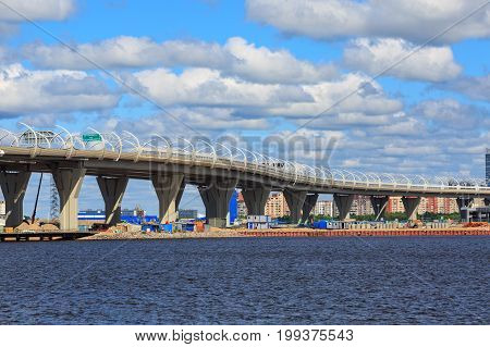 SAINT PETERSBURG/ RUSSIA - JULY 2, 2017. View from the Neva Bay to the highway Western high-speed diameter. Saint Petersburg, Russia