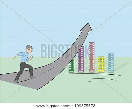 A man running up the arrow going into the sky. vector illustration