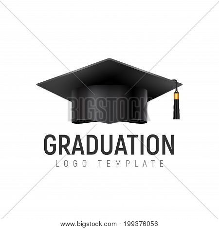 Graduation logo template cap. Student hat icon isolated. University education.