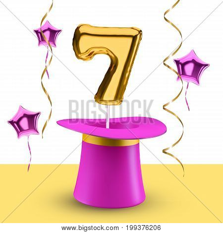 3d balloon number 7 vector isolated on white background banner concept for anniversary and congratulations