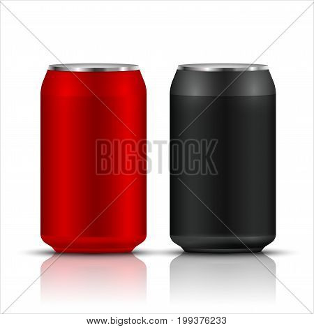 Aluminum drink can template blank packaging. Wet water or beer soda. Cola drink or juice isolated container.
