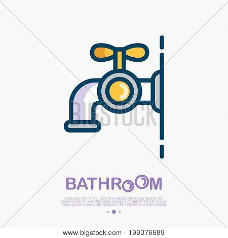 Faucet thin line icon with water drop. Modern vector illustration for logo of plumber, bathroom equipment shop.