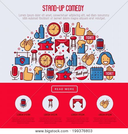 Stand up comedy show concept in half circle with thin line icons. Vector illustration for banner, web page, print media.
