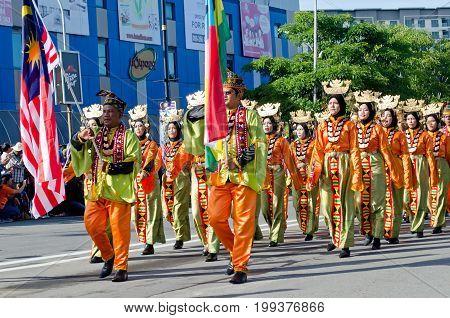 Kota Kinabalu, Malaysia - August 31, 2016: Malaysian From Sabah Borneo Bajau Ethnic Group In Their T