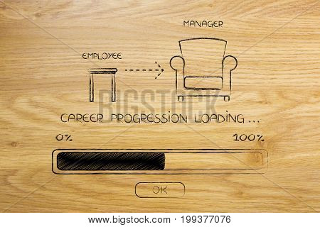 From Employee Stool To Manager Chair With Progress Bar Loading