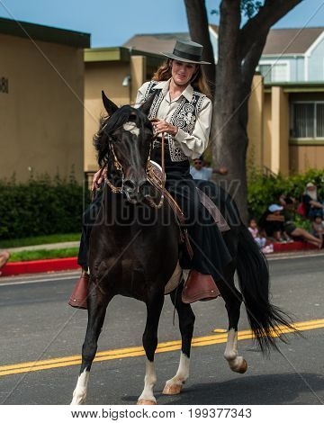 Cowgirl rider on black horse maintaining perfect control and harmony.
