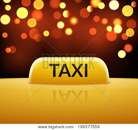 Taxi car sign on bokeh background. Taxi cab sign and roof car. Vector transportation service illustration