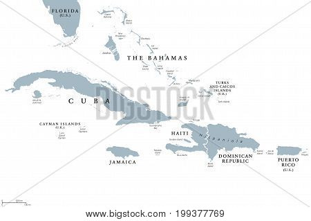 Greater Antilles political map with English labeling. Grouping of the larger islands in the Caribbean Sea with Cuba, Hispaniola, Puerto Rico, Jamaica and the Cayman Islands. Gray illustration. Vector.