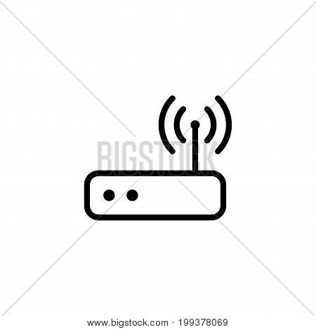Thin Line Wi-fi Router Icon On White Background