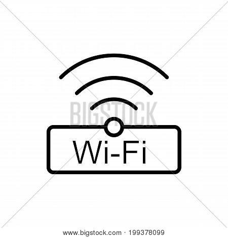 Thin Line Wi-fi, Wireless Icon On White Background