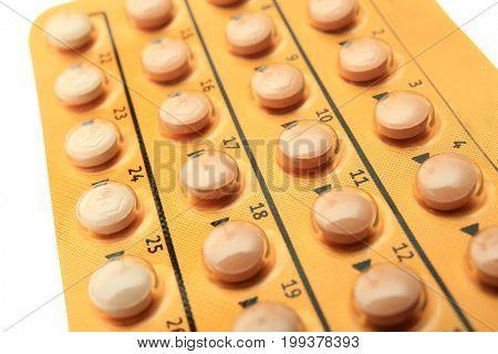Oral contraceptive, closeup