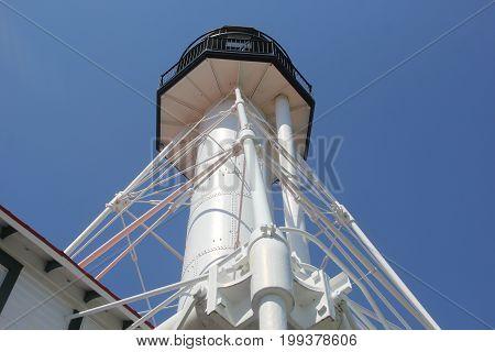 Whitefish Point Light tower in Upper Peninsula of Michigan