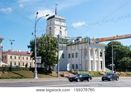 MINSK, BELARUS - AUGUST 01, 2013: The building of the Minsk City Hall on the Freedom Square. The original City Hall was destroyed in 1857. The building was restored according to old drawings in 2003.