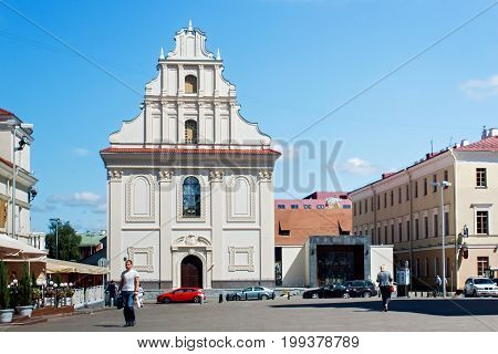 MINSK, BELARUS - AUGUST 01, 2013: Replica of the former Greek Catholic Church of the Holy Spirit (XVII century) erected on an old foundation. Now the children's philharmonic society.