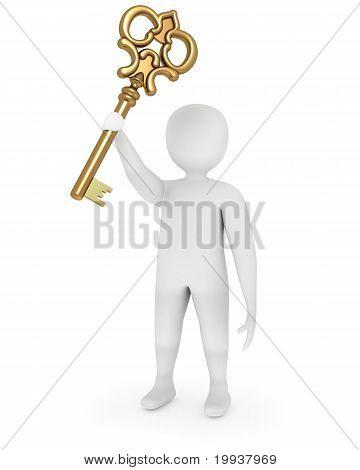 3D Man Showing Golden Key