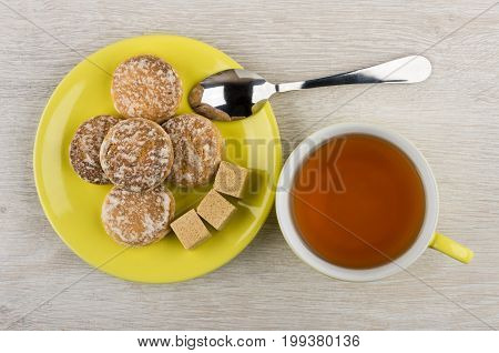 Honey-cake, Lumpy Sugar In Saucer, Teaspoon, Cup Of Tea