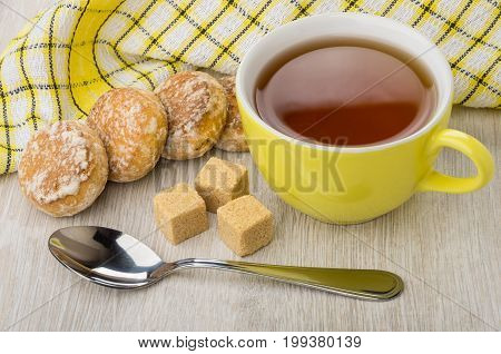 Honey-cake, Lumpy Sugar, Teaspoon, Napkin And Cup Of Tea