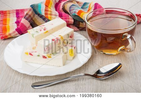 Tea In Cup, Pastila With Pieces Of Marmalade In Plate