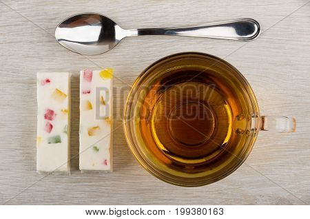 Two Pieces Of Pastila With Marmalade, Teaspoon And Tea